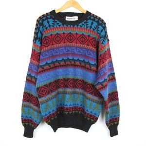 Obermeyer Nordic Ski Sweater Wool Ugly L Cosby 90s